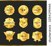 gold metal badge collection... | Shutterstock . vector #1054199444