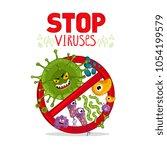 cartoon viruses characters... | Shutterstock . vector #1054199579