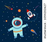 an astronaut and a rocket in... | Shutterstock .eps vector #1054202627