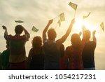 brazilian patriots  back view.... | Shutterstock . vector #1054217231