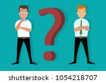 doubtful  skeptical and... | Shutterstock .eps vector #1054218707