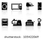 Set of black home appliances icons, illustration. - stock vector