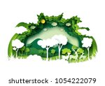 Save the world with ecology and environment conservation concept.Green forest and deers wildlife with nature background layers paper art style.Vector illustration. | Shutterstock vector #1054222079