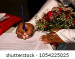signing the certificate of... | Shutterstock . vector #1054225025