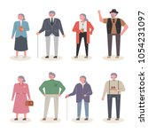 fashionable old people... | Shutterstock .eps vector #1054231097
