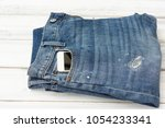 blue jean denim with smart... | Shutterstock . vector #1054233341
