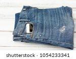 blue jean denim with smart... | Shutterstock . vector #1054233341
