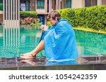 sick man traveler. the man... | Shutterstock . vector #1054242359