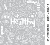 healthy lifestyle concept hand... | Shutterstock .eps vector #1054250645