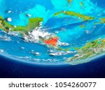 nicaragua highlighted in red on ... | Shutterstock . vector #1054260077