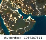 qatar highlighted in red from... | Shutterstock . vector #1054267511