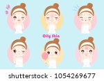 woman with oily skin problem on ... | Shutterstock .eps vector #1054269677
