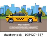 taxi driver standing at yellow... | Shutterstock .eps vector #1054274957