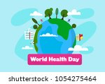 world health day with earth on... | Shutterstock .eps vector #1054275464