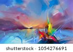 colorful oil painting on canvas ... | Shutterstock . vector #1054276691