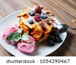 belgian waffles with fresh...   Shutterstock . vector #1054290467