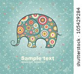 Abstract Floral Elephant On...