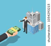 flat 3d isometric businessman... | Shutterstock .eps vector #1054293215