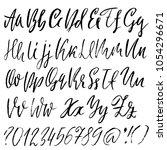 handdrawn dry brush font.... | Shutterstock .eps vector #1054296671