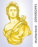 greek goddess. marble bust of... | Shutterstock .eps vector #1054302491