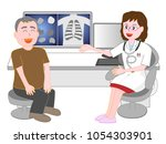 a patient who is consulted by a ... | Shutterstock .eps vector #1054303901