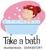 wordcard for take a bath with... | Shutterstock .eps vector #1054307297