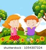 boy and girl playing in garden... | Shutterstock .eps vector #1054307324