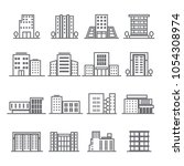 16 outline of building icon set ... | Shutterstock .eps vector #1054308974