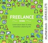 freelance signs round design... | Shutterstock .eps vector #1054311275