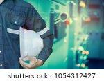 double exposure of engineer or... | Shutterstock . vector #1054312427