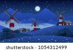 summer farm meadow landscape at ...   Shutterstock .eps vector #1054312499