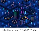 isometric futuristic night city ...
