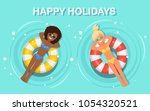 pretty woman swims  tanning on... | Shutterstock .eps vector #1054320521