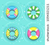 set of swimming rubber ring on... | Shutterstock .eps vector #1054321211