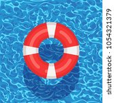 red life buoy floating in... | Shutterstock .eps vector #1054321379