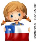 girl holding flag of chile...