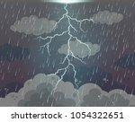 background scene with lightning ... | Shutterstock .eps vector #1054322651