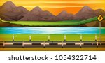 background scene with river at... | Shutterstock .eps vector #1054322714