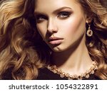 beautiful woman with long curly ... | Shutterstock . vector #1054322891
