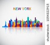 new york skyline silhouette in... | Shutterstock .eps vector #1054322915