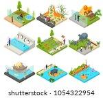 public zoo set concept 3d... | Shutterstock .eps vector #1054322954