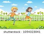 two children are running... | Shutterstock .eps vector #1054323041