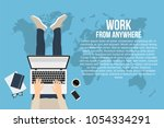 freelancer is working at home... | Shutterstock .eps vector #1054334291