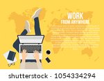 freelancer is working at home... | Shutterstock .eps vector #1054334294