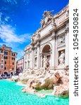 rome  italy. famous trevi... | Shutterstock . vector #1054350824