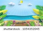 vector illustration on a summer ...   Shutterstock .eps vector #1054352045