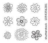 doodle flowers set. hand drawn... | Shutterstock .eps vector #1054356281