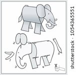 elefant from pieces of paper. ...