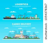 logistics and cargo delivery... | Shutterstock . vector #1054378367