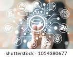 electro car concept. electrical ... | Shutterstock . vector #1054380677